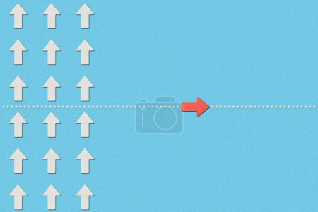 Photo for Top view of rows with white pointers and red arrow on blue marked background - Royalty Free Image