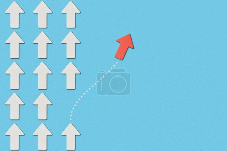 Photo for Top view of red arrow and rows with white pointers on blue marked background - Royalty Free Image