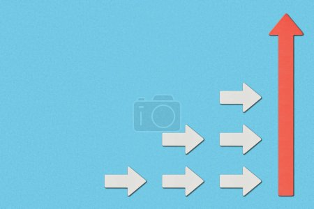 Photo for Top view of white arrows directed to big red pointer on blue background - Royalty Free Image