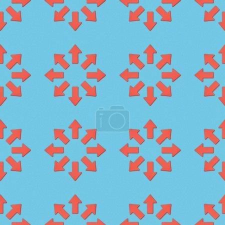 Foto de Collage de punteros rojos en círculos sobre fondo azul, patrón de fondo transparente - Imagen libre de derechos