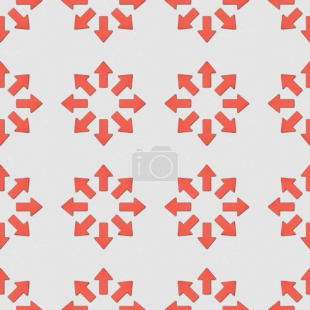Foto de Collage de punteros rojos en círculos sobre fondo gris, patrón de fondo transparente - Imagen libre de derechos