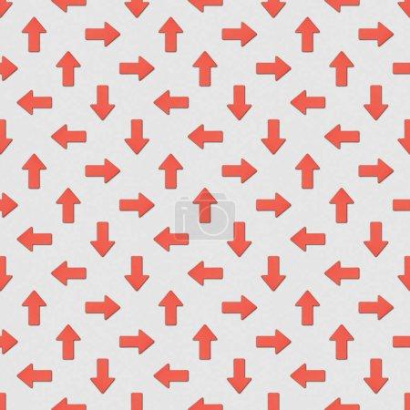 Photo pour Collage de flèches rouges dans différentes directions sur fond gris, motif de fond sans couture - image libre de droit