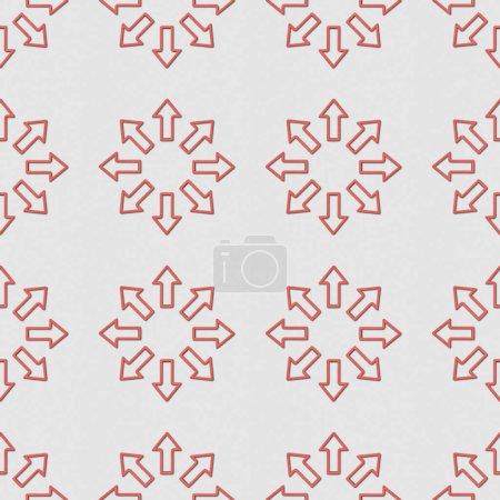 Foto de Collage de flechas rojas en círculos sobre fondo gris, patrón de fondo transparente - Imagen libre de derechos