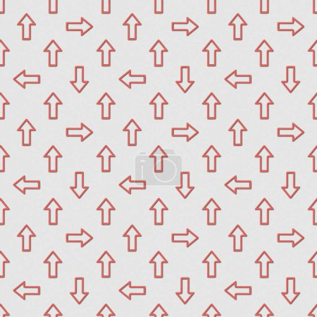 collage of seamless background pattern with red pointers on grey background