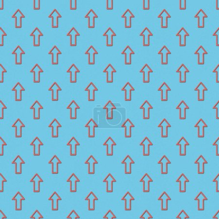 collage of seamless background pattern with red pointers on blue background