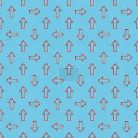 Photo pour Collage des flèches rouges dans des directions différentes sur fond bleu, motif de fond transparente - image libre de droit