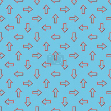 Photo for Collage of red pointers in different directions on blue background, seamless background pattern - Royalty Free Image