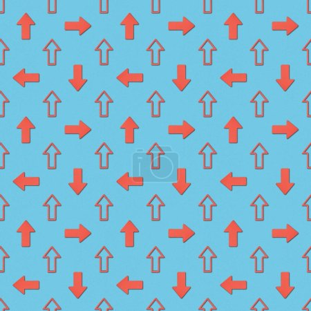Photo for Collage of different red pointers on blue background, seamless background pattern - Royalty Free Image