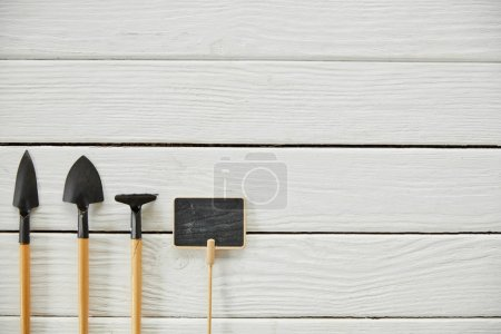 Photo for Top view of spades, rake and empty board on white table - Royalty Free Image