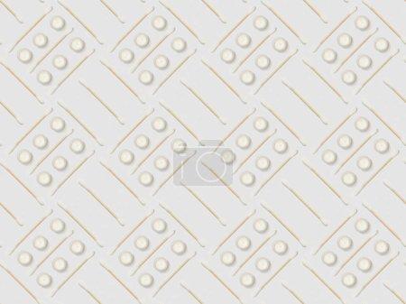Photo pour Bâtons d'oreille et crème cosmétique sur fond gris, motif de fond sans couture - image libre de droit