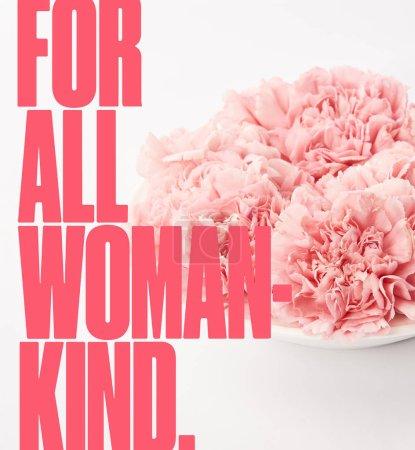 Photo pour Gros plan des oeillets roses dans la plaque sur fond blanc avec pour toutes les femmes lettrage genre - image libre de droit
