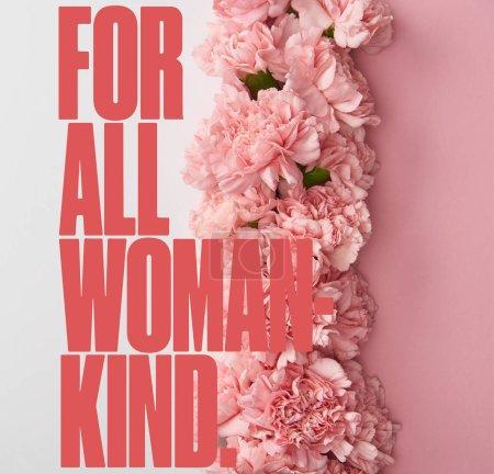 Photo pour Vue de dessus des fleurs d'oeillet sur fond rose et blanc avec pour toutes les femmes lettrage aimable - image libre de droit