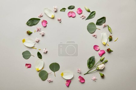 top view of round floral frame made of petals and leaves with copy space isolated on grey