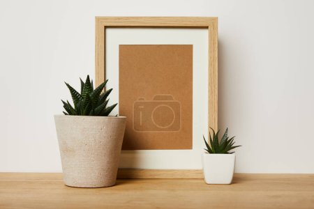 Photo for Blank decorative frame near green plants in pots at home - Royalty Free Image