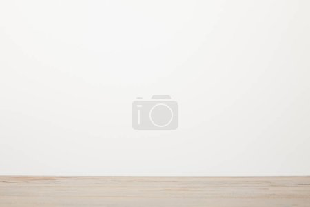 wooden surface near white background with copy space