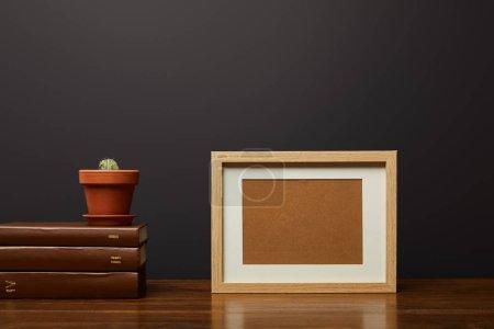 cactus en pot sur les livres près du cadre vierge