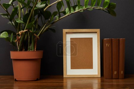 Photo for Green plant in pot near books and blank frame - Royalty Free Image