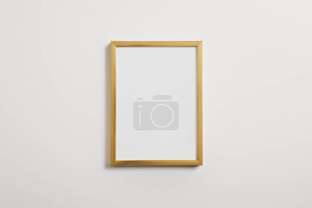 wooden blank frame on white background