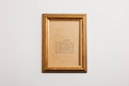 wooden square frame on white background