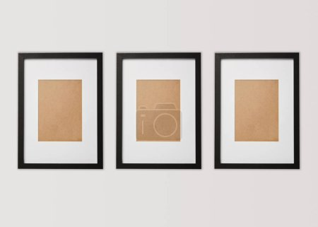 Photo for Black blank square frames on white background - Royalty Free Image