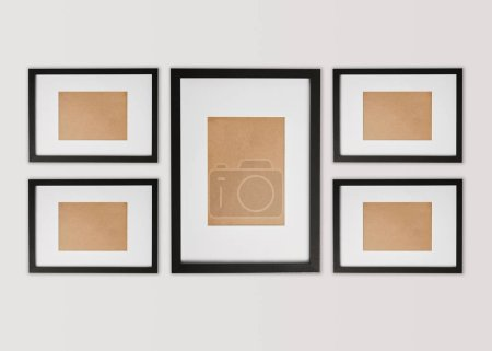 Photo for Black decorative square frames on white background - Royalty Free Image