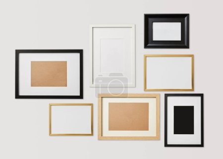 blank decorative square frames on white background