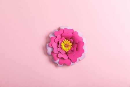 Photo for Top view of paper colorful flower on pink background - Royalty Free Image