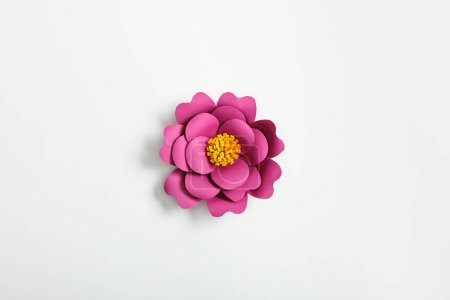 Photo for Top view of pink paper flower on grey background - Royalty Free Image