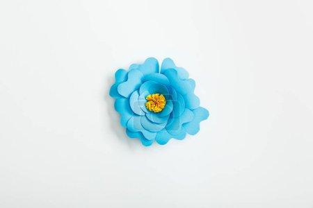 Foto de Vista superior de flor de papel azul en fondo gris - Imagen libre de derechos