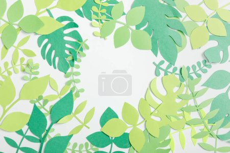 Photo for Top view of paper plants with leaves on grey background - Royalty Free Image