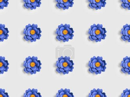 Foto de Flores de color azul hecha de papel en el patrón de fondo transparente, gris - Imagen libre de derechos