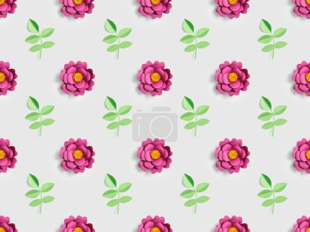 Photo for Green plants and pink paper flowers on grey, seamless background pattern - Royalty Free Image