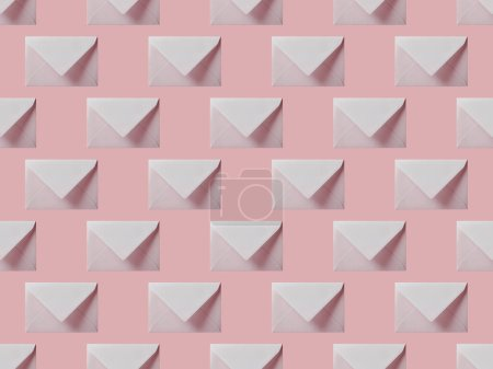 Photo for Top view of flat lay with white envelopes isolated on pink - Royalty Free Image