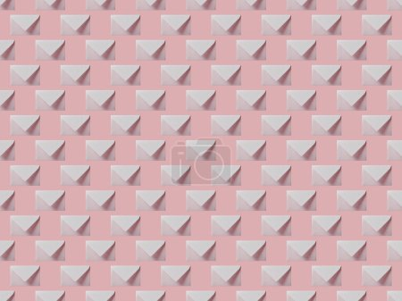 Photo for Top view of flat lay with white and empty envelopes isolated on pink - Royalty Free Image