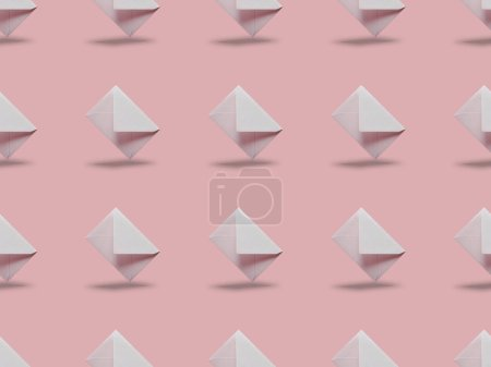 Photo for Flat lay with white and empty envelopes on pink background with copy space - Royalty Free Image