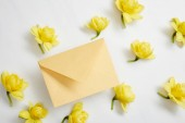 top view of yellow narcissus flowers and yellow envelope on white