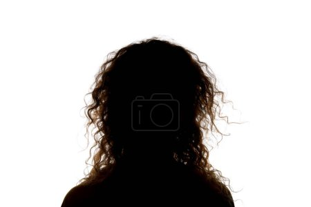 Photo for Silhouette of woman with curly hair isolated on white - Royalty Free Image