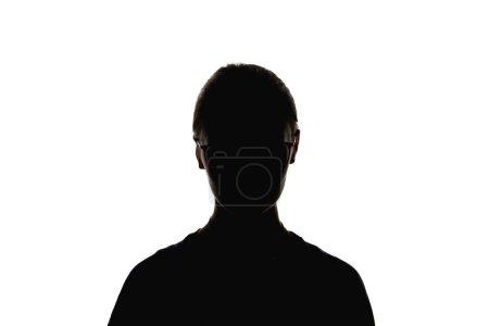 Silueta de mujer en gafas mirando a cámara aislada en blanco