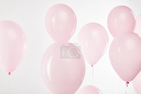 Photo for Background with decorative floating pink air balloons on white - Royalty Free Image