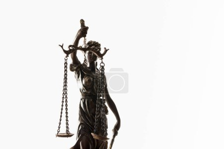 Photo for Bronze figurine with scales of justice isolated on white - Royalty Free Image