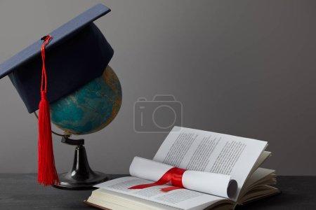 Globo, gorra académica, diploma y libro abierto sobre gris