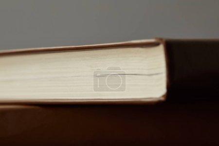 Photo pour Focus sélectif des livres bruns isolés sur le gris - image libre de droit
