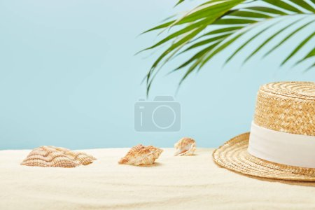 Photo for Selective focus of straw hat near seashells and green palm leaf in summertime isolated on blue - Royalty Free Image