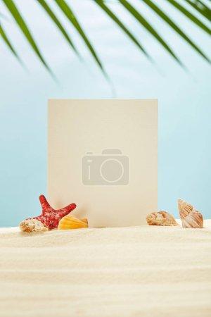 Foto de Enfoque selectivo de pancarta en blanco, estrellas de mar rojas y conchas marinas en la arena cerca de la hoja de palmera verde en azul - Imagen libre de derechos