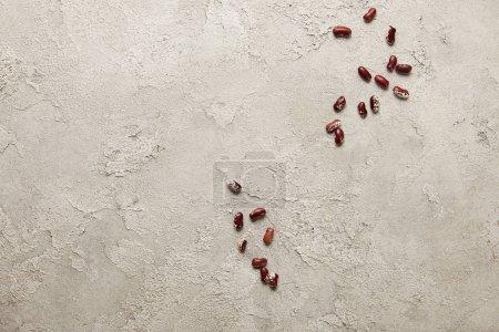 Foto de Vista superior, de alubias rojas en superficie con textura gris - Imagen libre de derechos