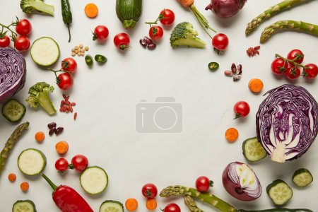 Photo for Flay lay with vegetables and seeds on white surface - Royalty Free Image