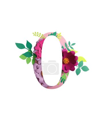 Photo for Number 0 with paper cut flowers and leaves isolated on white - Royalty Free Image