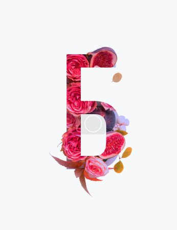 Cyrillic letter with pink roses and figs isolated on white