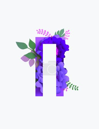 Photo for Cyrillic letter with paper cut purple flowers and green leaves isolated on white - Royalty Free Image