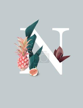 Photo pour Blanc lettre N avec ananas rose, figue et feuilles vertes isolées sur le gris - image libre de droit